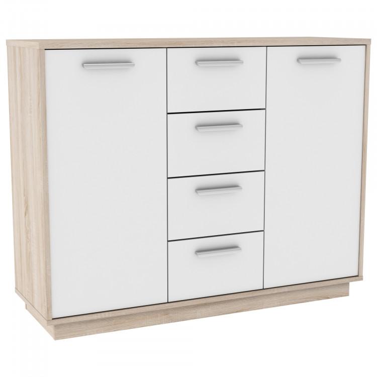 Meuble de rangement contemporain 2 portes/4 tiroirs chêne brossé/blanc Sismo