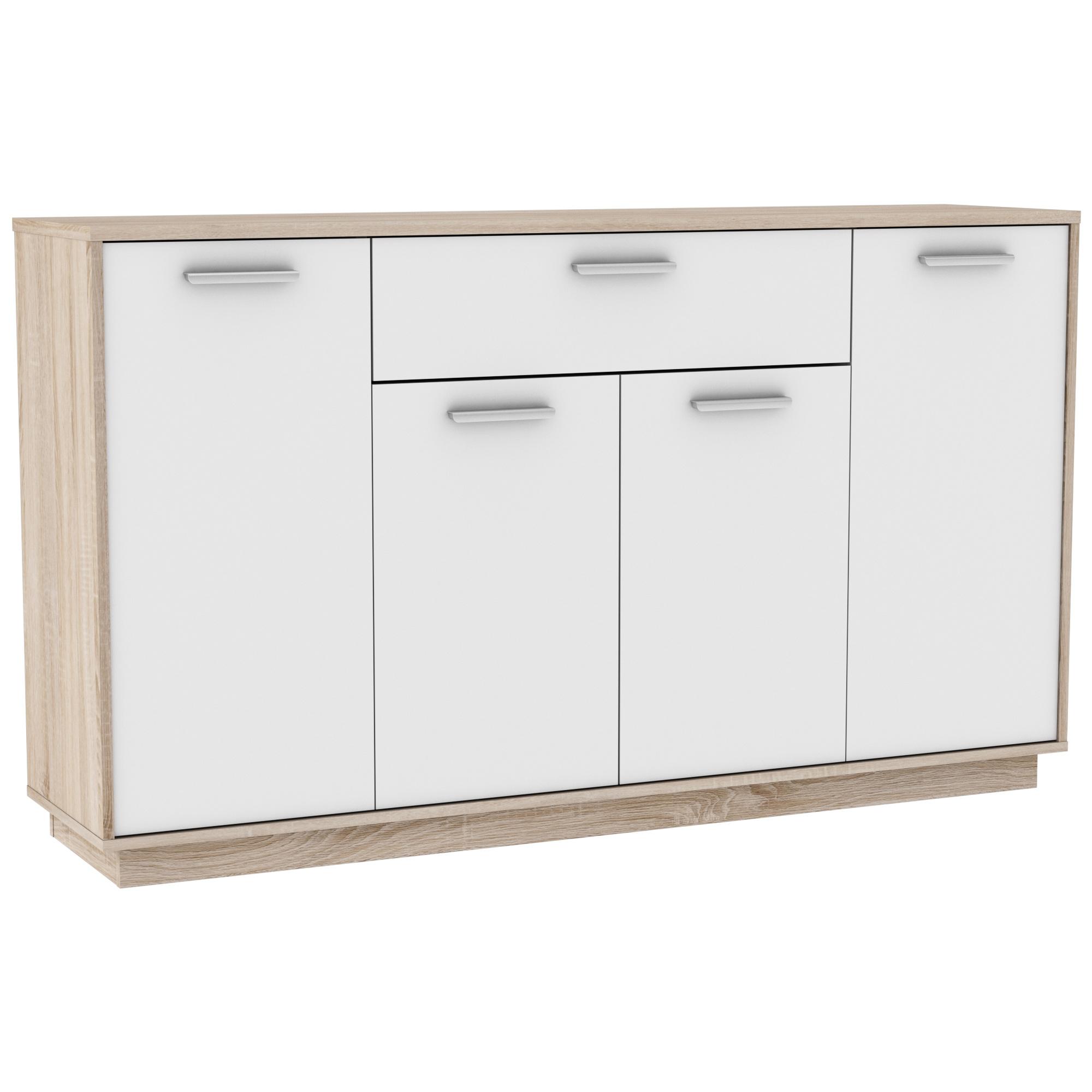 Meuble de rangement contemporain 4 portes/1 tiroir chêne brossé/blanc Sismo