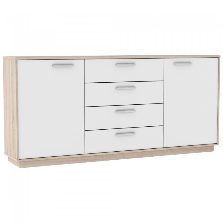 Meuble de rangement contemporain 2 portes/4 tiroirs chêne brossé/blanc Sismo II
