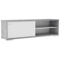 Meuble TV contemporain blanc/gris béton Clara