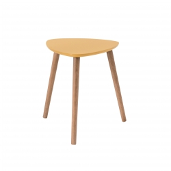 Table basse triangulaire contemporaine jaune en bois Chloe