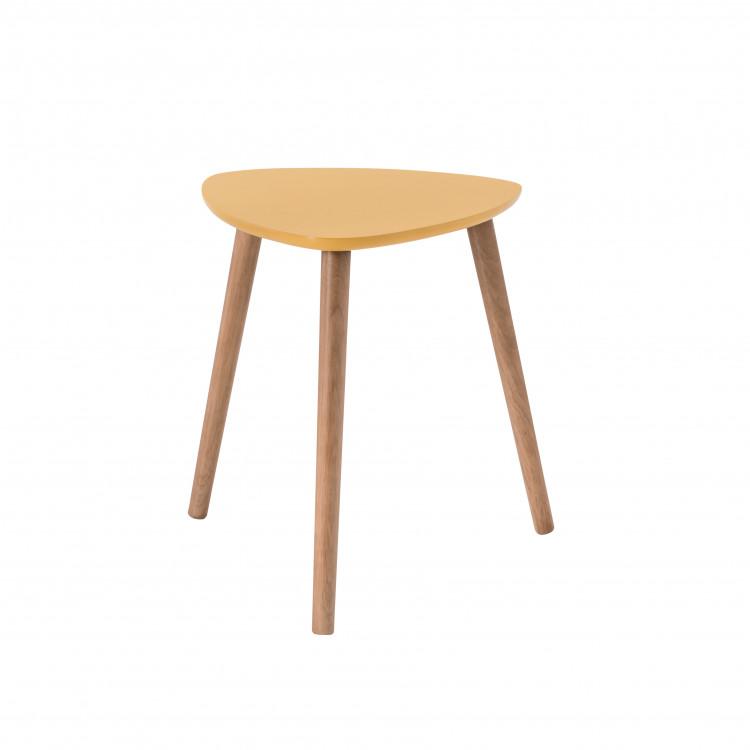 Table Basse Triangulaire Contemporaine Jaune En Bois Chloe