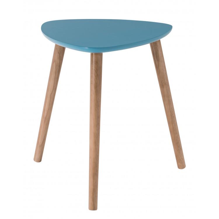 Table Basse Triangulaire Contemporaine Bleue En Bois Chloe