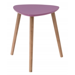 Table basse triangulaire contemporaine violette en bois Chloe