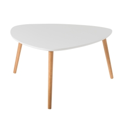 Table basse triangulaire contemporaine ronde blanche en bois Chloe