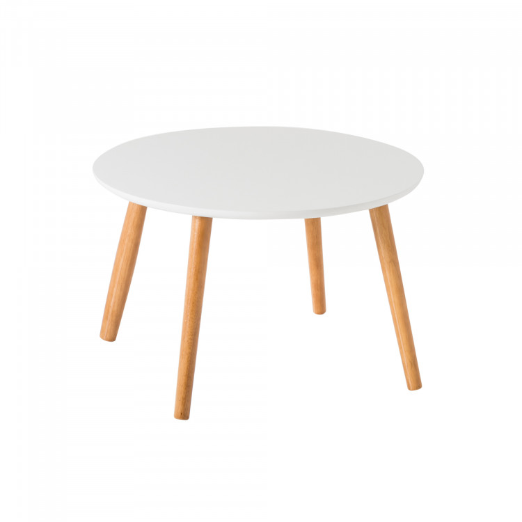 Table Basse Ronde Contemporaine Blanche En Bois Chloe