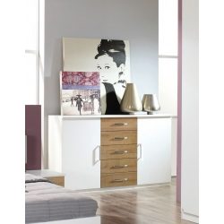 Commode adulte contemporaine 2 portes/5 tiroirs blanche/chêne riviera Eliane