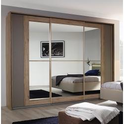 Armoire contemporaine portes coulissantes chêne sanremo/gris Mélissa