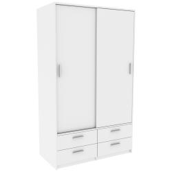 Armoire contemporaine 120 cm blanche Marjorie