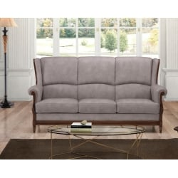 Canapé fixe 3 places contemporain en tissu gris Benjamin