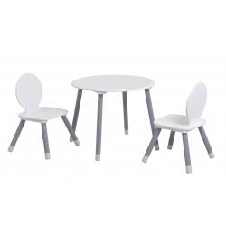 Ensemble table et chaises enfant contemporain blanc/gris Sybelle