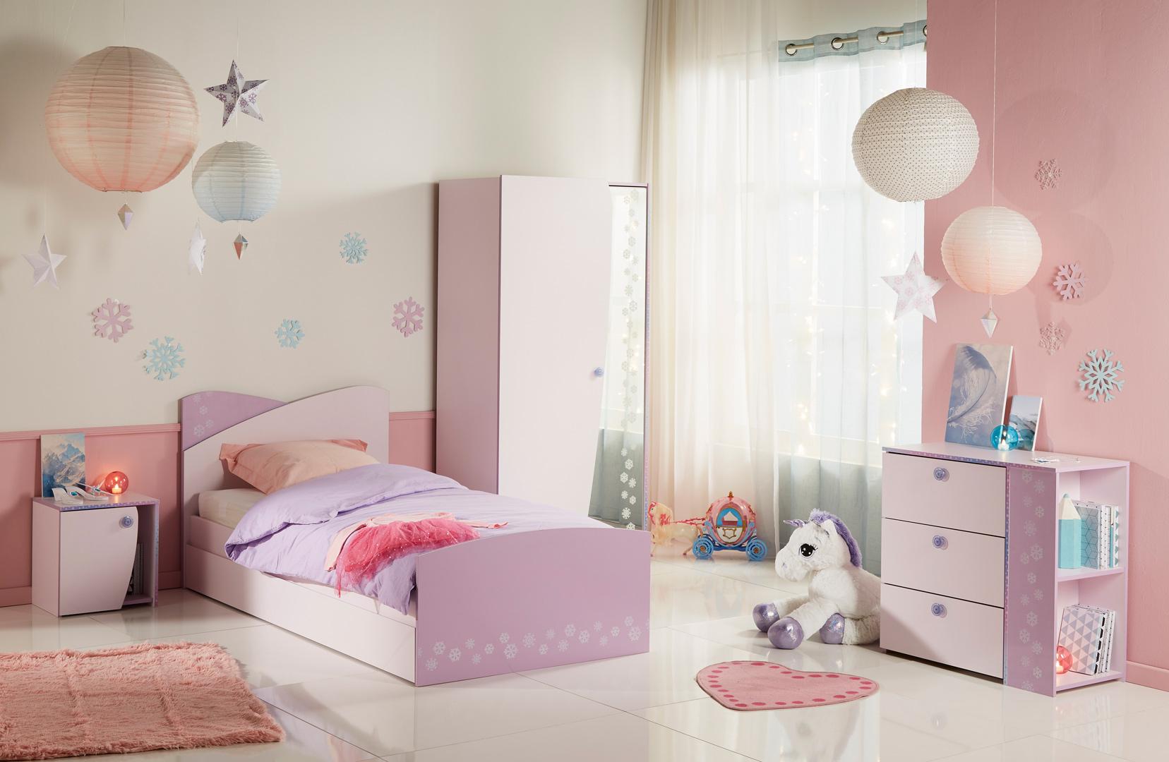 Chambre enfant contemporaine coloris rose/lilas Flocon | Matelpro