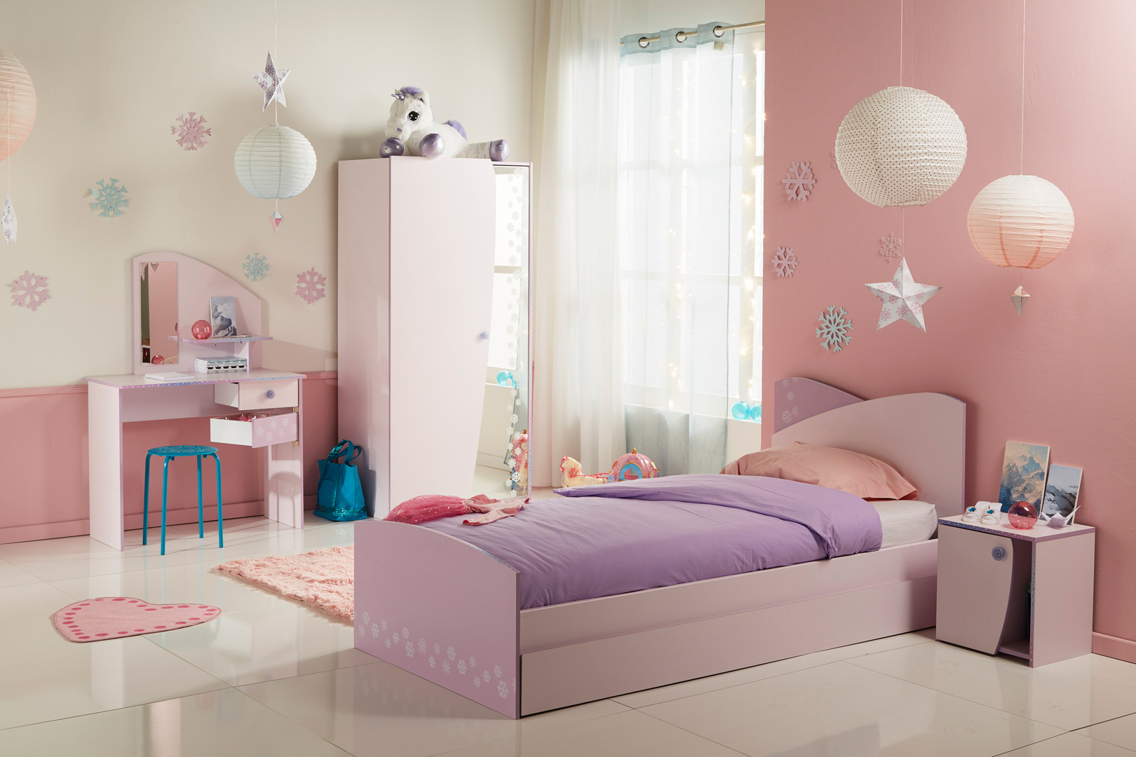Chambre enfant contemporaine coloris rose/lilas Flocon I | Matelpro