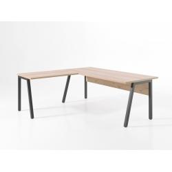 Bureau d'angle contemporain 150 cm anthracite/chêne clair Augusto