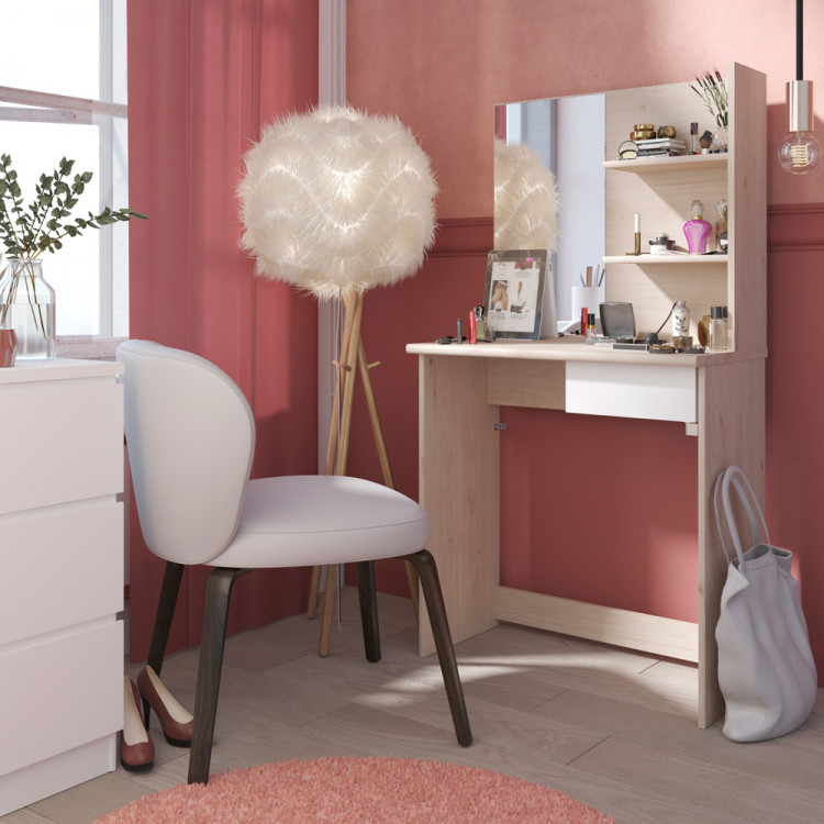 coiffeuse contemporaine coloris ch ne clair blanc ingenus. Black Bedroom Furniture Sets. Home Design Ideas