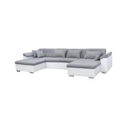 Canapé d'angle panoramique convertible contemporain PU blanc/tissu gris Jonas