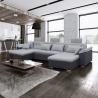 Canapé d'angle panoramique convertible contemporain PU blanc/tissu noir Jonas