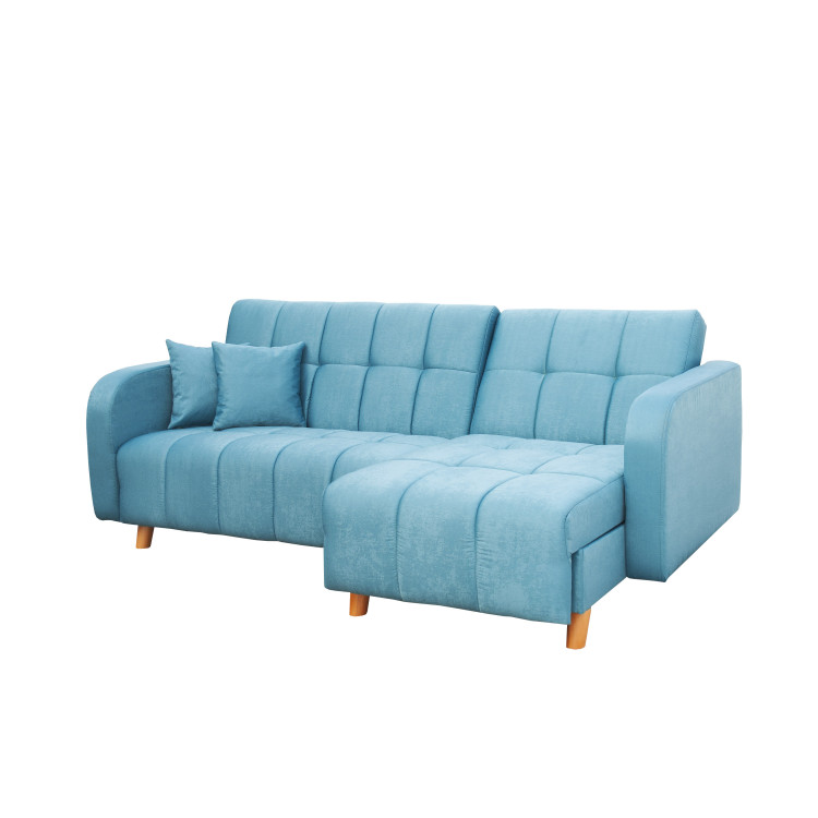 Canapé d'angle convertible réversible contemporain en tissu turquoise Stellane