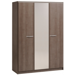 Armoire contemporaine 139 cm coloris noyer Flora