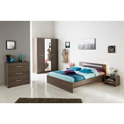 Chambre adulte contemporaine coloris noyer Flora