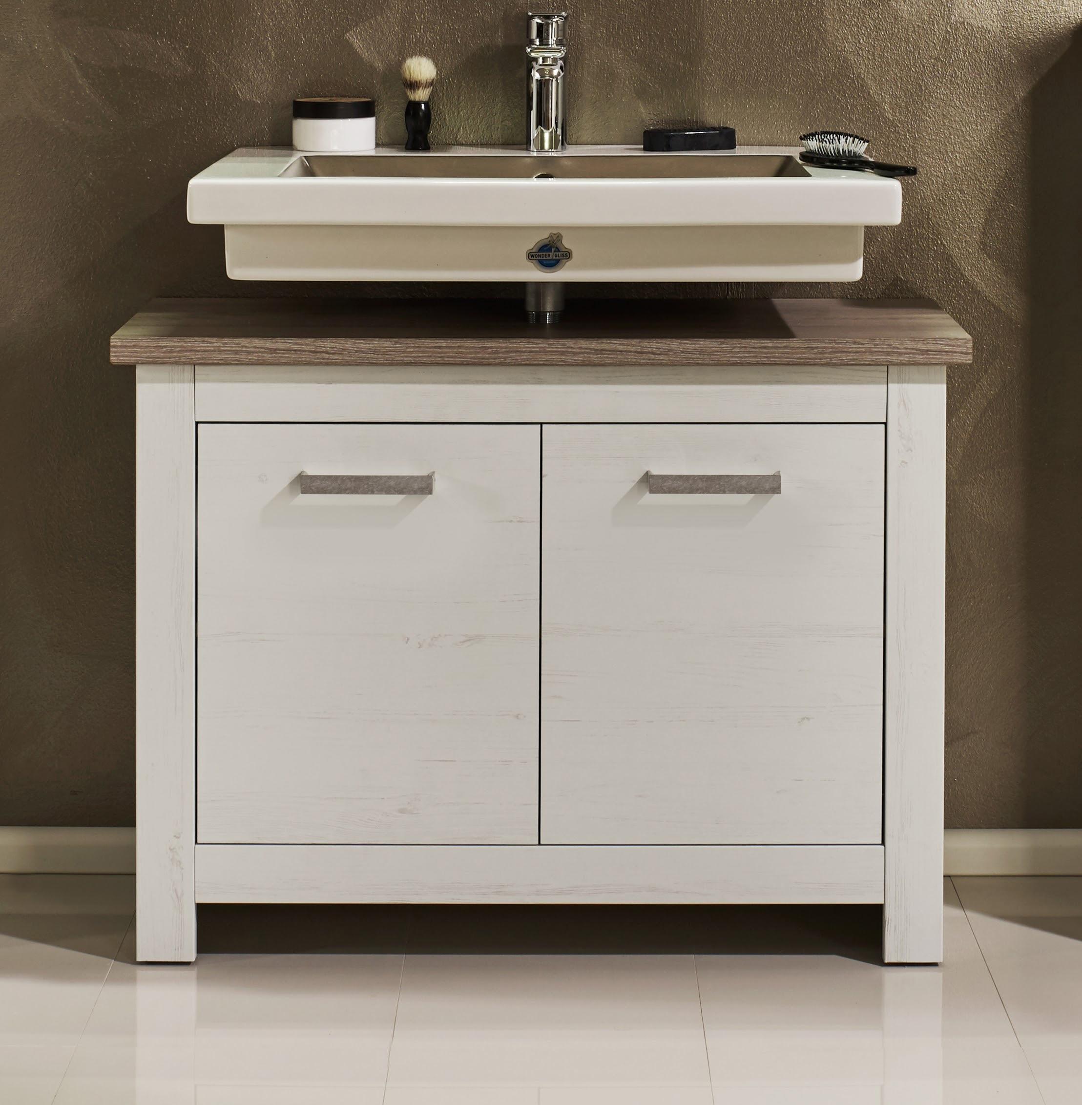meuble sous lavabo contemporain ch ne blanchi glamour. Black Bedroom Furniture Sets. Home Design Ideas