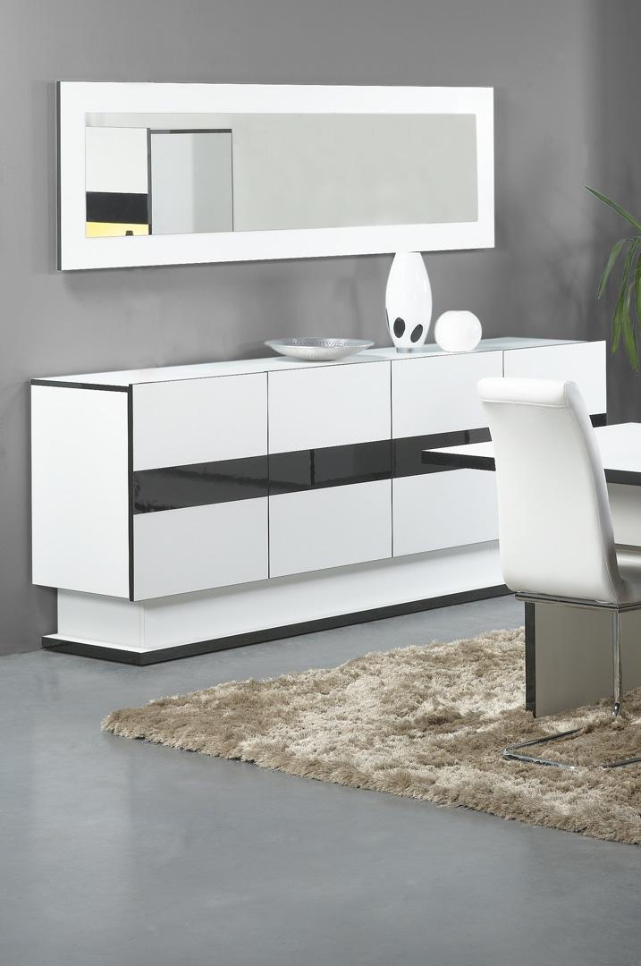 Buffet/bahut design coloris blanc/noir Anna