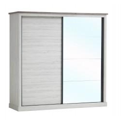 Armoire contemporaine portes coulissantes clair/marron Solange