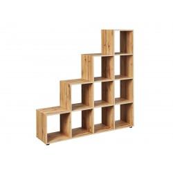 Etagère escalier contemporaine 10 compartiments chêne sauvage Doriane