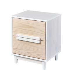 Chevet contemporain en pin massif blanc Noemie