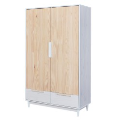 Armoire contemporaine en pin massif blanc Noemie