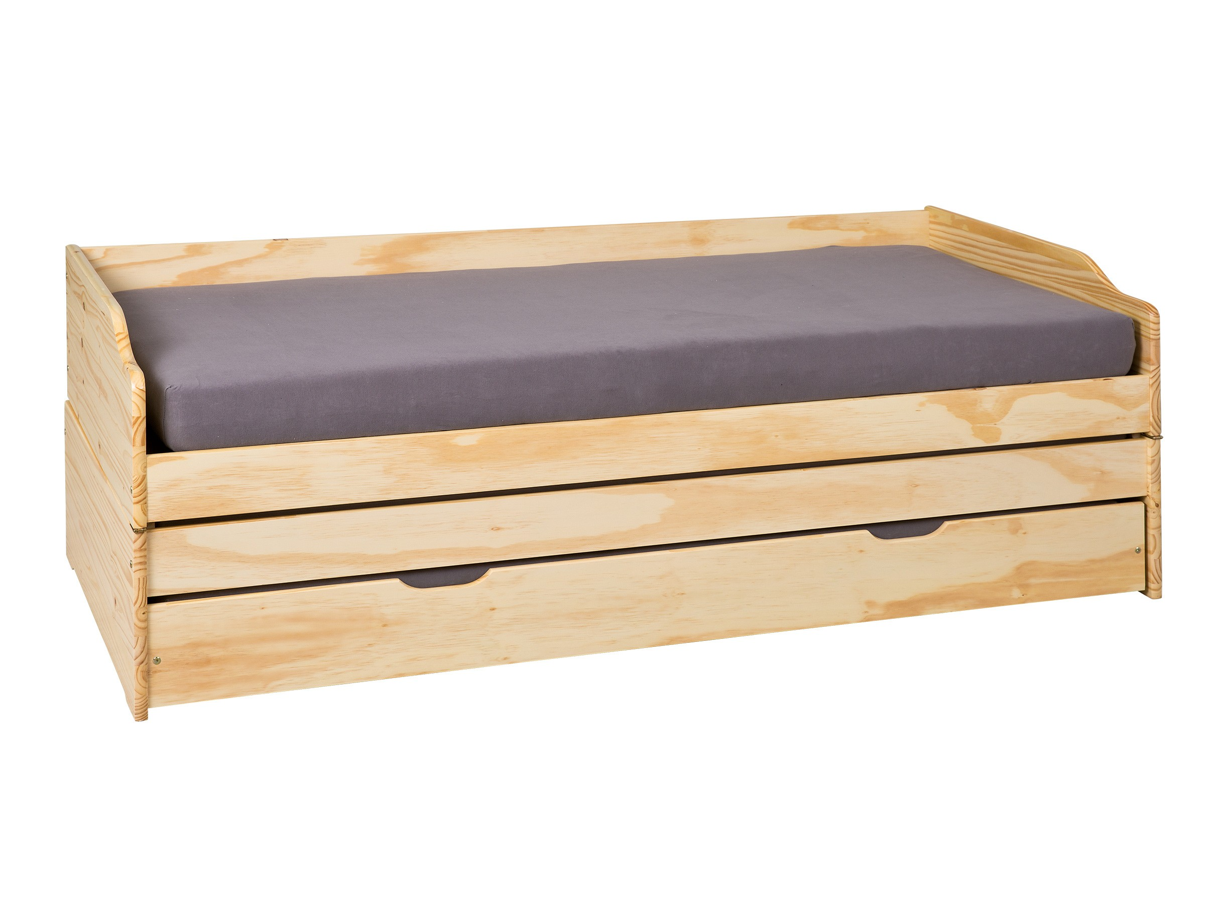 Banquette-lit enfant contemporaine en pin massif naturel Ingenio