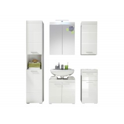 Ensemble de salle de bain design blanc laqué Savana