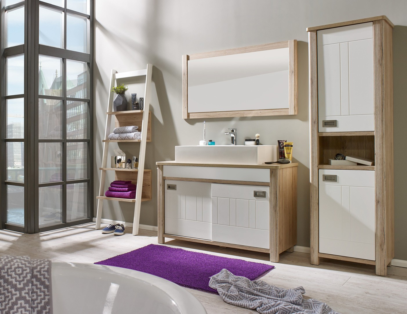 Ensemble de salle de bain contemporain chêne/blanc mat Steven | Matelpro