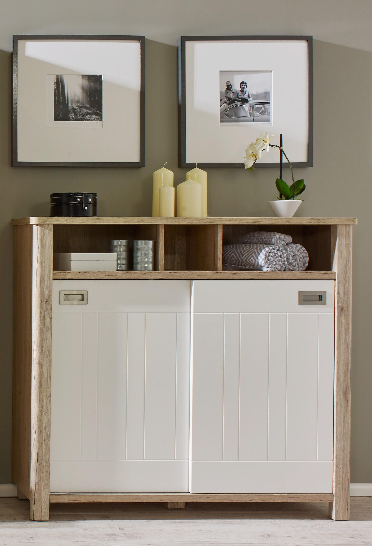 Meuble De Rangement De Salle De Bain meuble de rangement de salle de bain contemporain chêne/blanc mat steven
