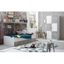 Chambre enfant contemporaine blanc/gris béton Canarie