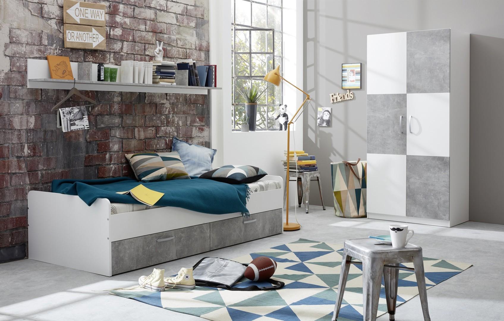 Chambre enfant contemporaine blanc/gris béton Canarie | Matelpro