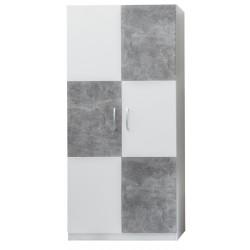 Armoire enfant contemporaine 90 cm blanc/gris béton Canarie