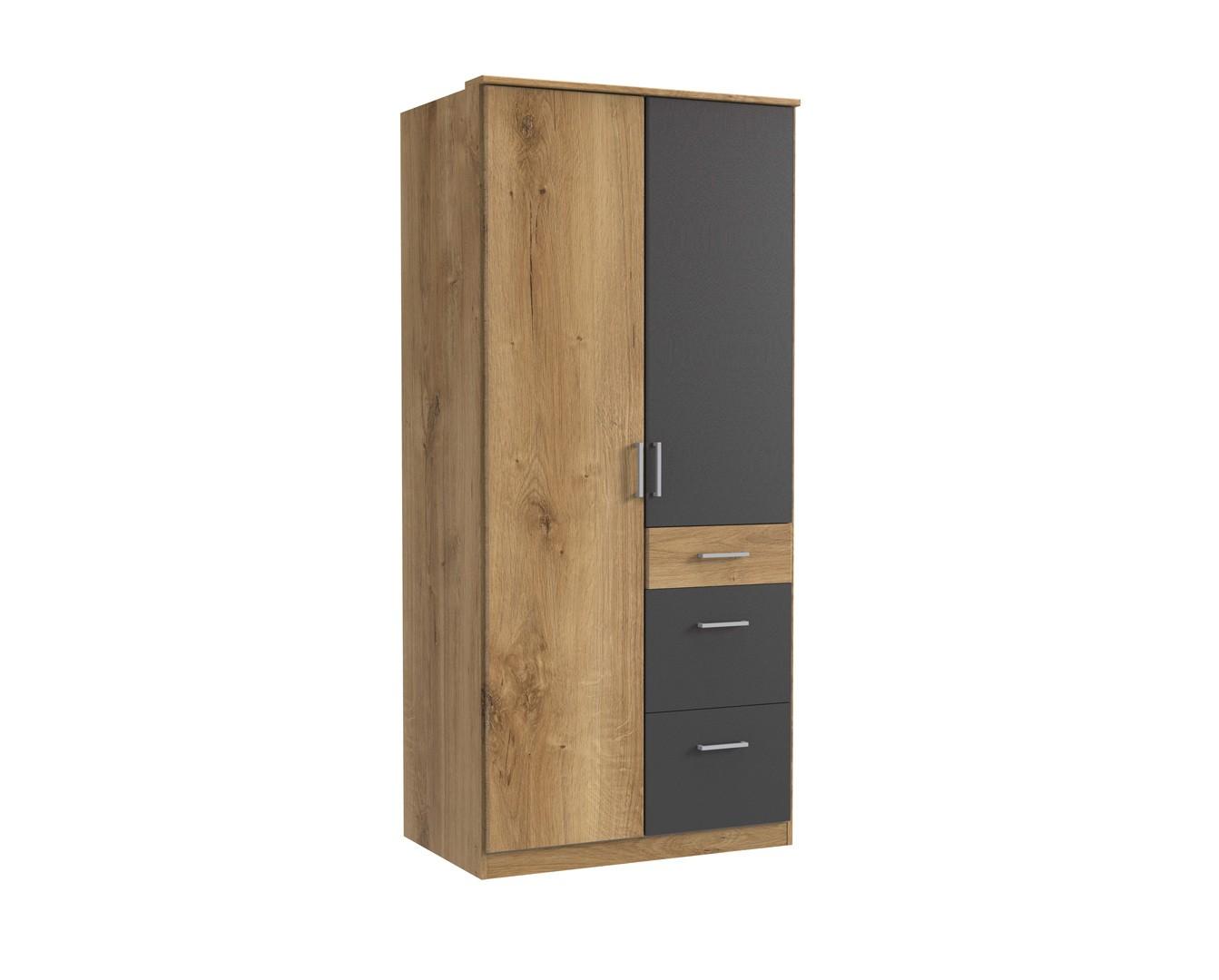 Armoire contemporaine 2 portes/3 tiroirs chêne poutre/graphite Genova
