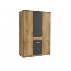 Armoire contemporaine 3 portes/3 tiroirs chêne poutre/graphite Genova