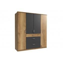 Armoire contemporaine 4 portes/3 tiroirs chêne poutre/graphite Genova