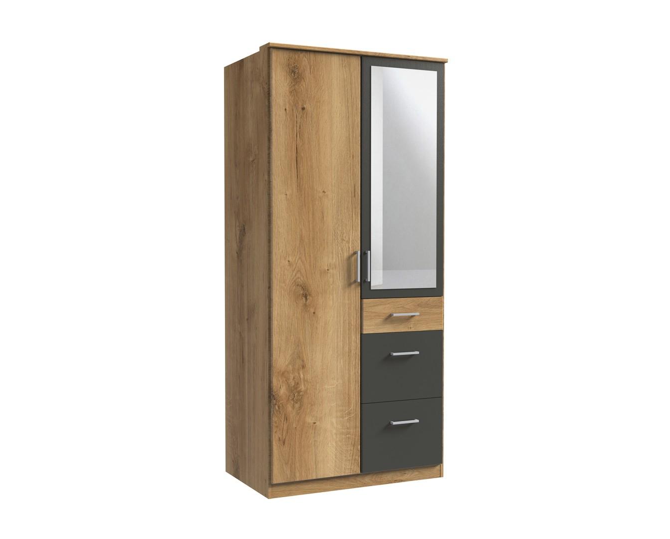 Armoire contemporaine 2 portes/3 tiroirs chêne poutre/graphite Genova I
