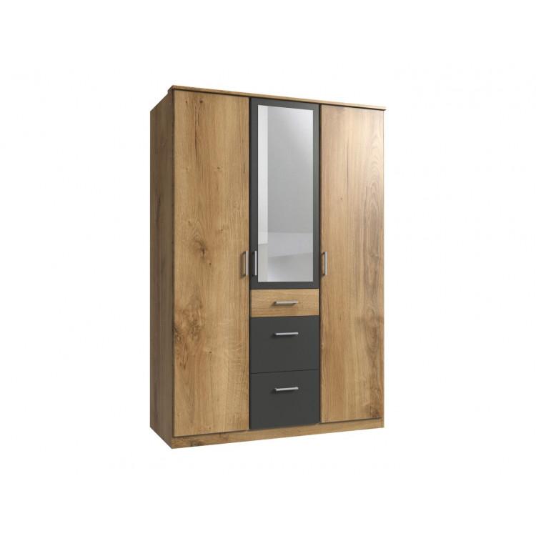 Armoire contemporaine 3 portes/3 tiroirs chêne poutre/graphite Genova I