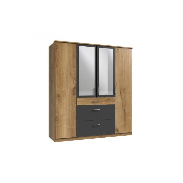 Armoire contemporaine 4 portes/3 tiroirs chêne poutre/graphite Genova I