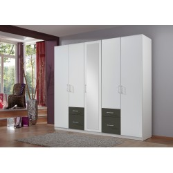 Armoire adulte contemporaine 225 cm blanc/graphite Gloria