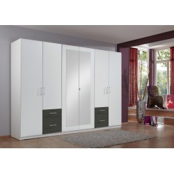 Armoire adulte contemporaine 270 cm blanc/graphite Gloria