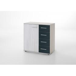 Commode contemporaine 1 porte/4 tiroirs chêne blanc/graphite Zora