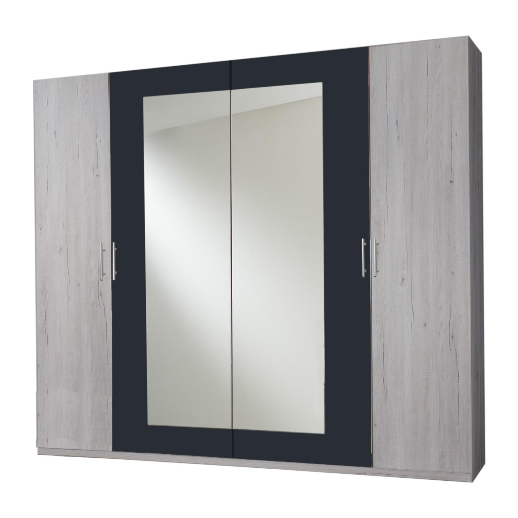 Armoire contemporaine 225 cm portes battantes chêne blanc/graphite Zora