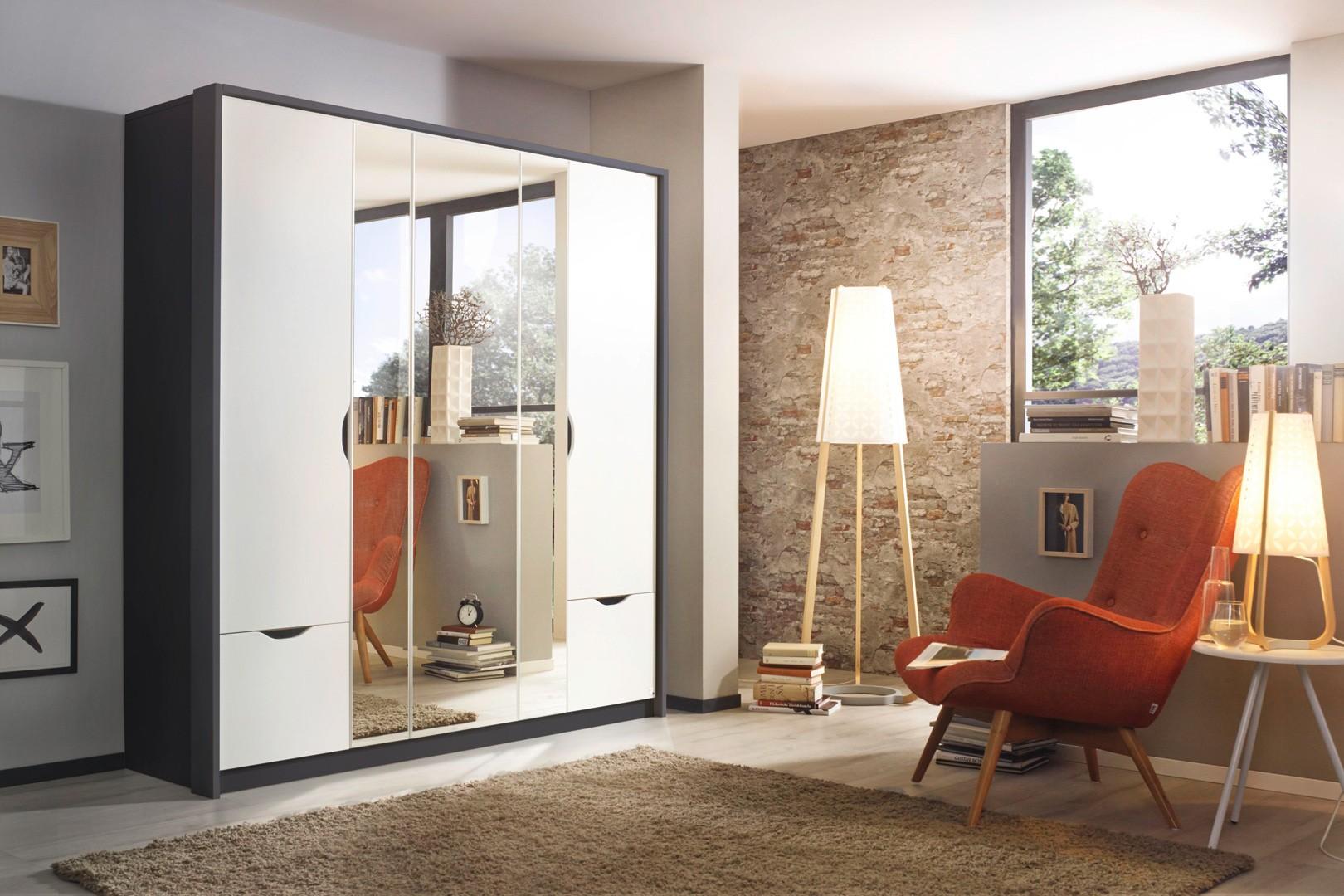 Armoire contemporaine 181 cm blanc/gris métallique Valeriane