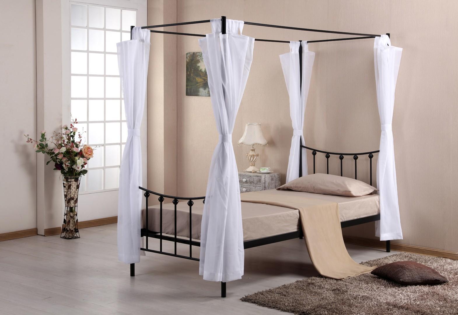 lit baldaquin contemporain 1 personne en m tal noir. Black Bedroom Furniture Sets. Home Design Ideas