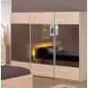 Armoire contemporaine 3 portes coulissantes coloris chêne Alicia